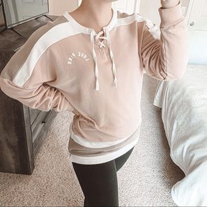 VS PINK Lace Up Oversized Sweatshirt Pink Brown